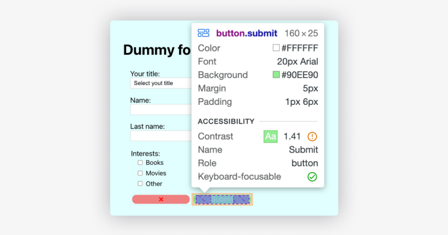 """Browser inspect on """"Submit"""" button from the example app, showing the contrast being 1.41"""