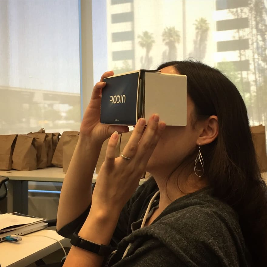 photo of me using a cardboard VR headset