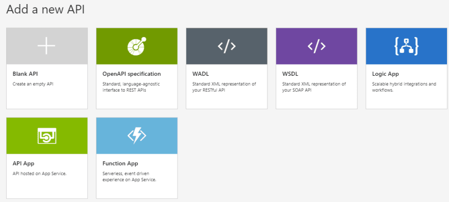 Create new API in API Management