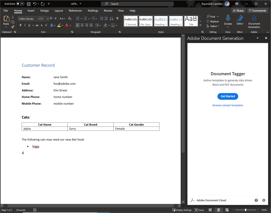 Document Generation sidebar
