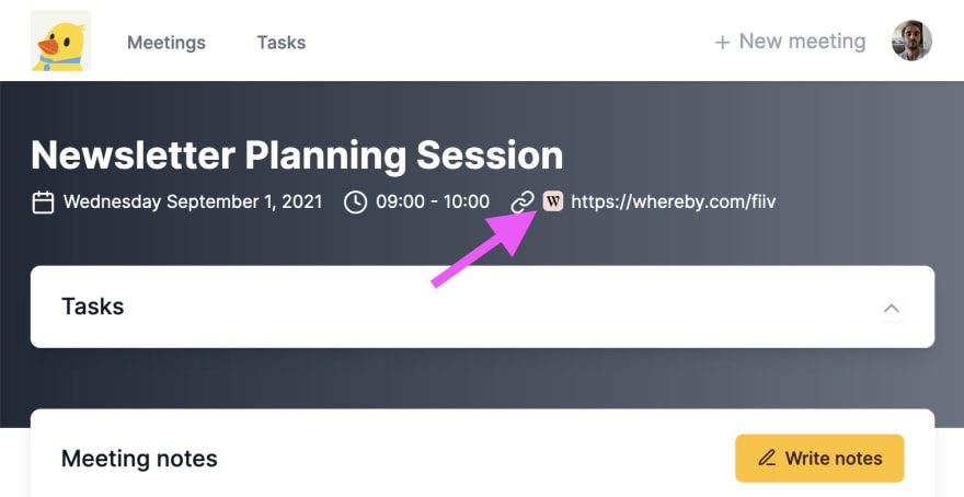 A meeting invite often has a link