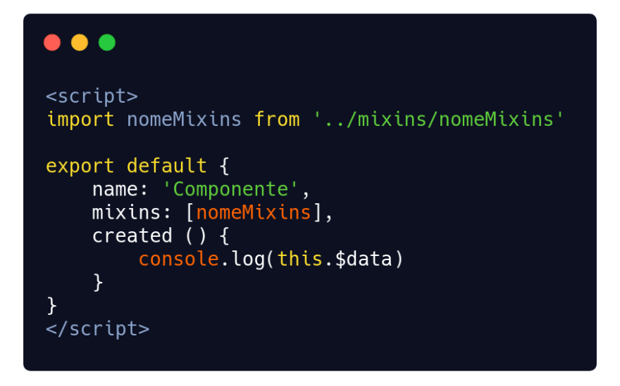 Part of the .vue component with the nomeMixins import