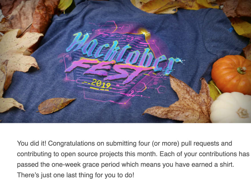 The email I got saying that I've completed the Hacktoberfest challenge.