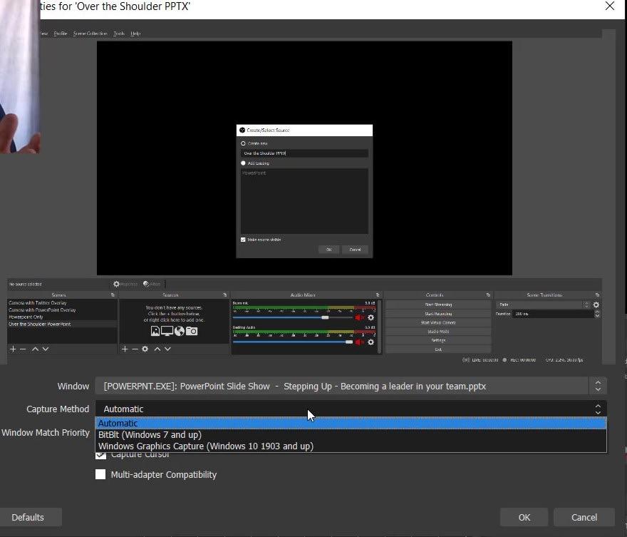 Screen capture of OBS Window Capture properties dialog