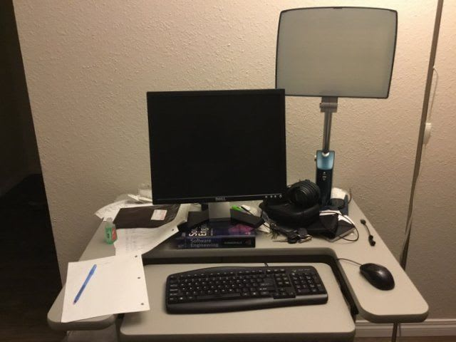 my desk with normal room illumination