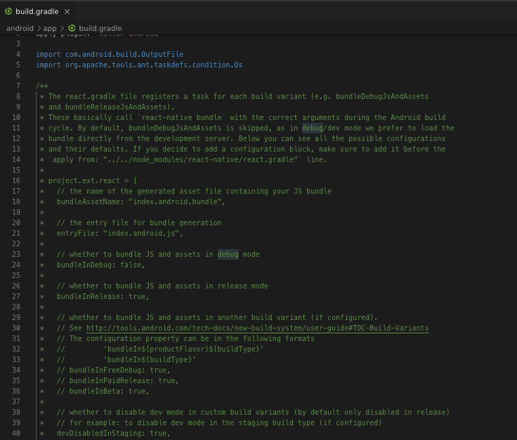 Screenshot of app/build.gradle