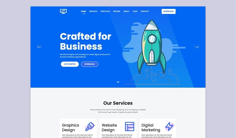 One page website template html