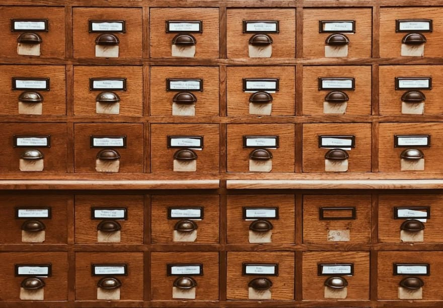 Drawers of index cards