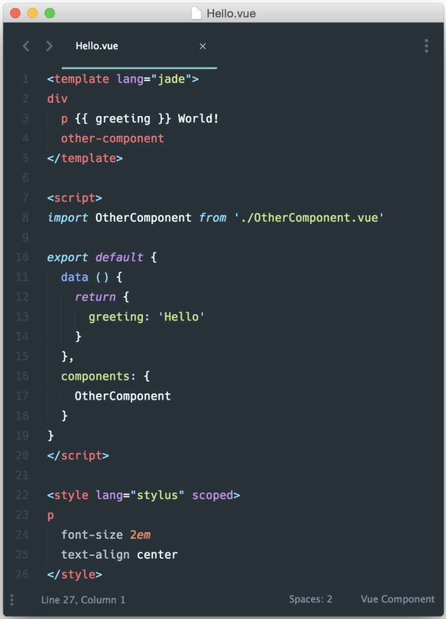 """Hello world"" example from Vue documentation"