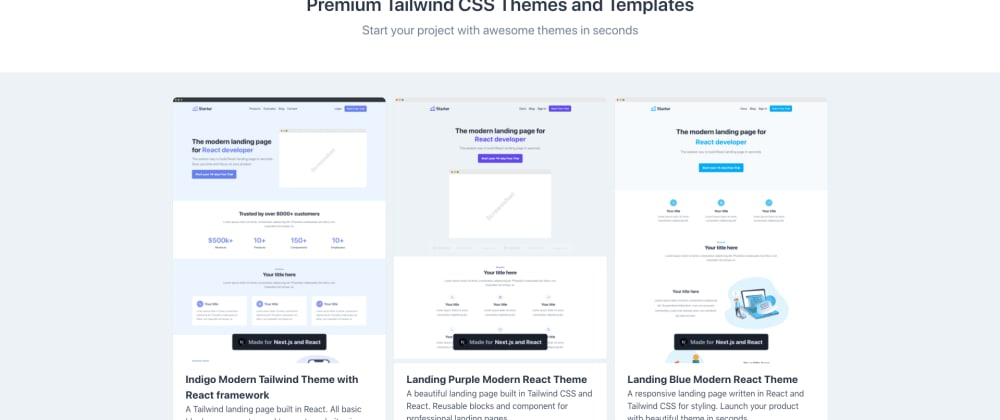 Cover image for 7+ Awesome Tailwind CSS Themes in React UI framework [2020]