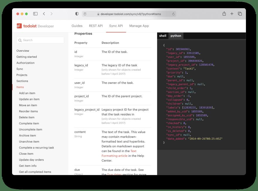 Todoist API documentation is made with Slate