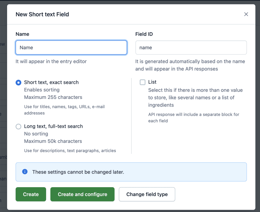 Showing name settings in contentful