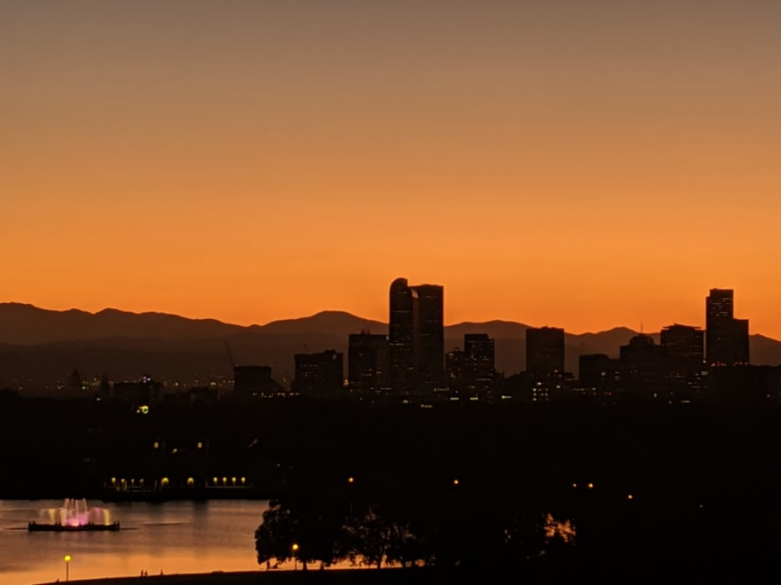 Downtown Denver at dusk