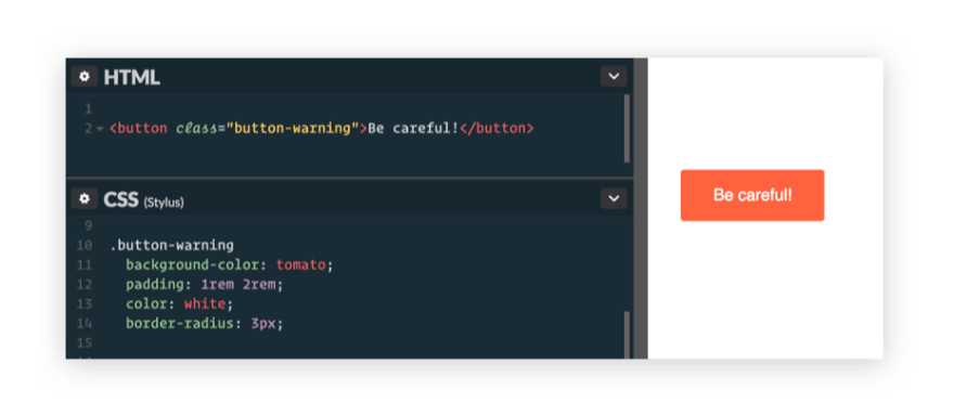 Button created with traditional CSS