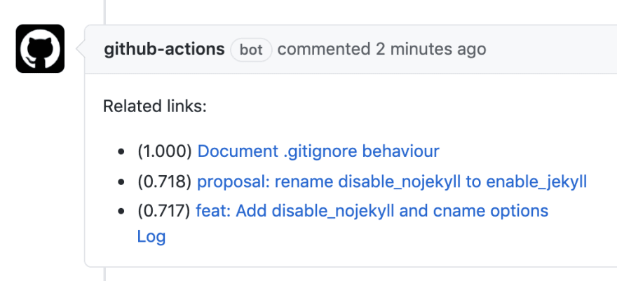 Suggest Related Links Action example result | peaceiris/actions-suggest-related-links