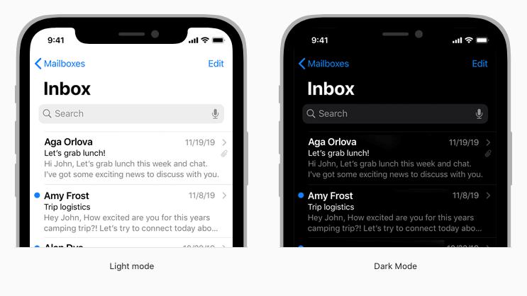 Apple Human Interface Guidelines example of light versus dark mode