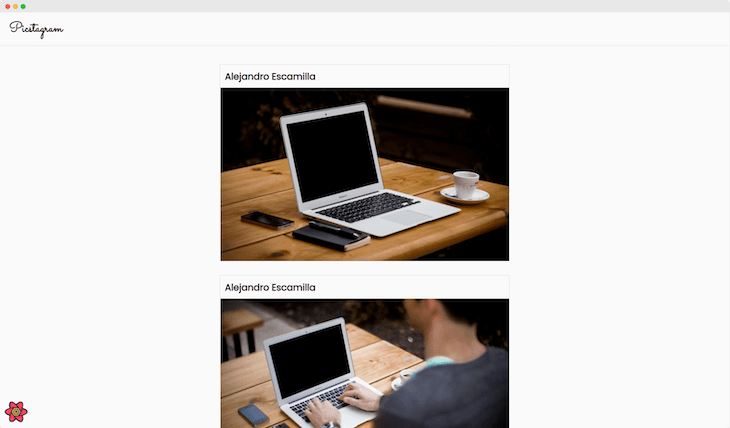 Final React Query Scrolling Feed Layout, Shows Heading, Two Photos, Each With A Title And The Author Of Each Post