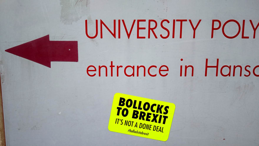 Bollocks to Brexit, sticker on the university entrance