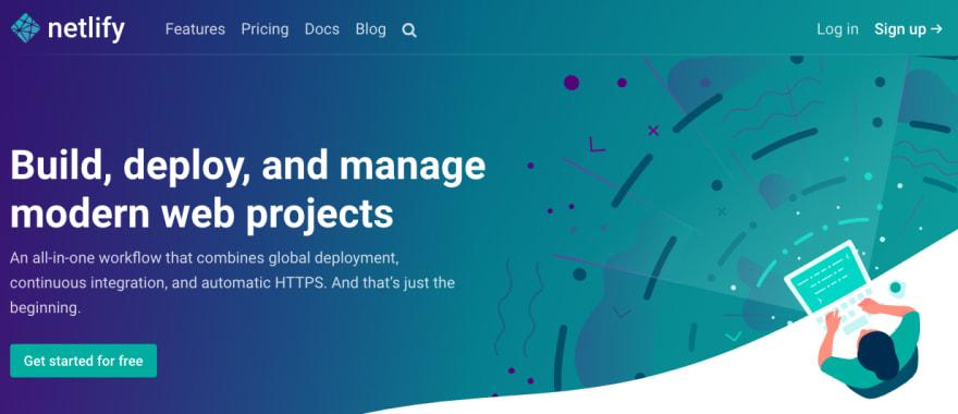 Screenshot of Netlify homepage