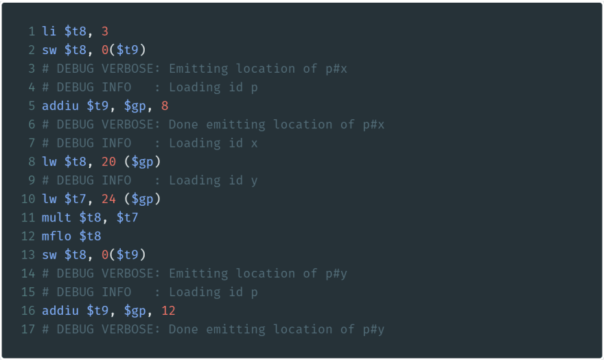 Messy debugging comments within some assembly.