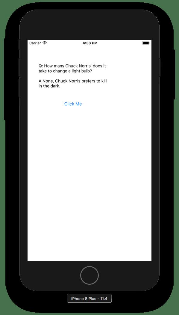 ChuckNorris application on a simulator