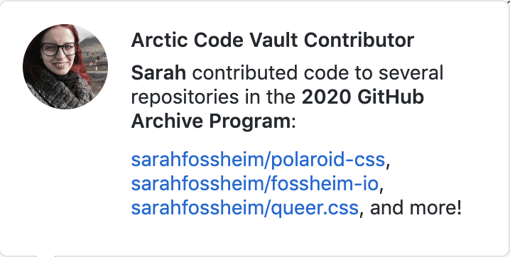 Github screenshot saying fossheim.io, queer.css, polaroid.css and more of my repositories are contributed to the 2020 GitHub Archive Program