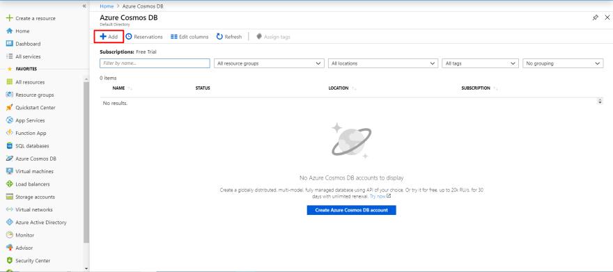 Create new Cosmos DB account