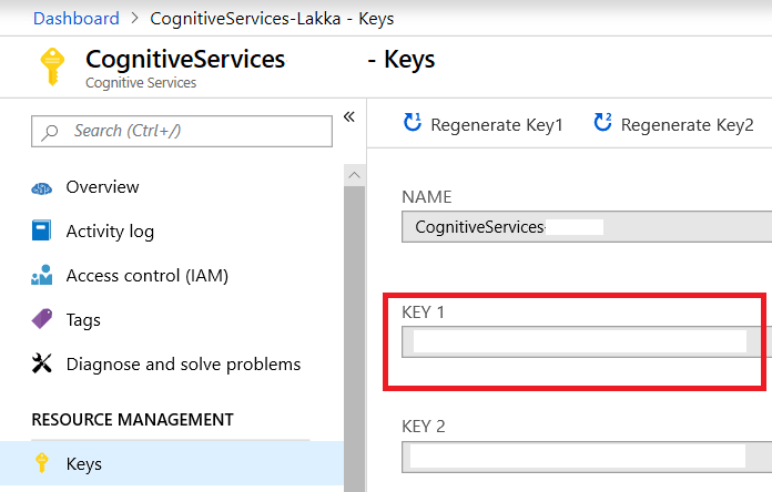 Get Cognitive Services API Key