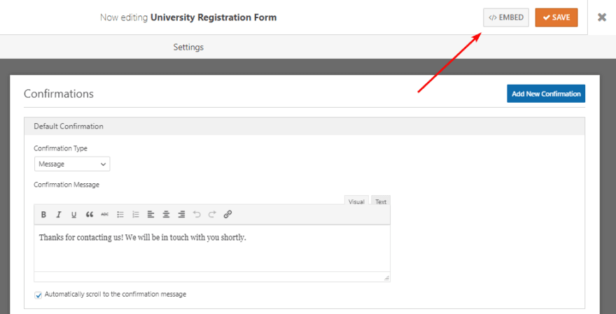 Display the university registration form on pages / posts of your WordPress website