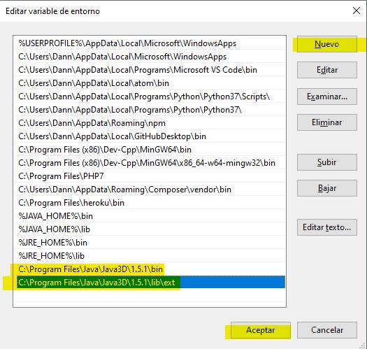 """Edit path envoronment variable"" window"