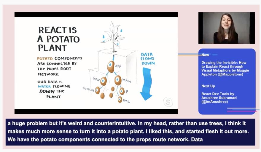 Using potato plants to explain data flow in React.
