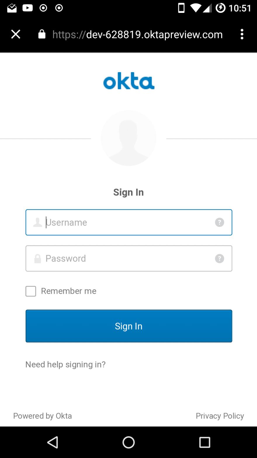 Okta login screen