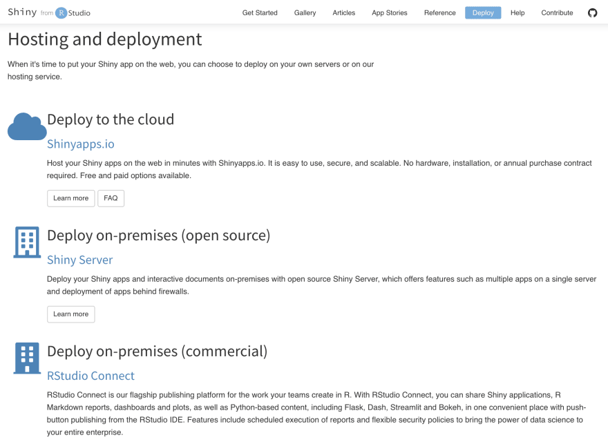 Official deployment options for Shiny by RStudio