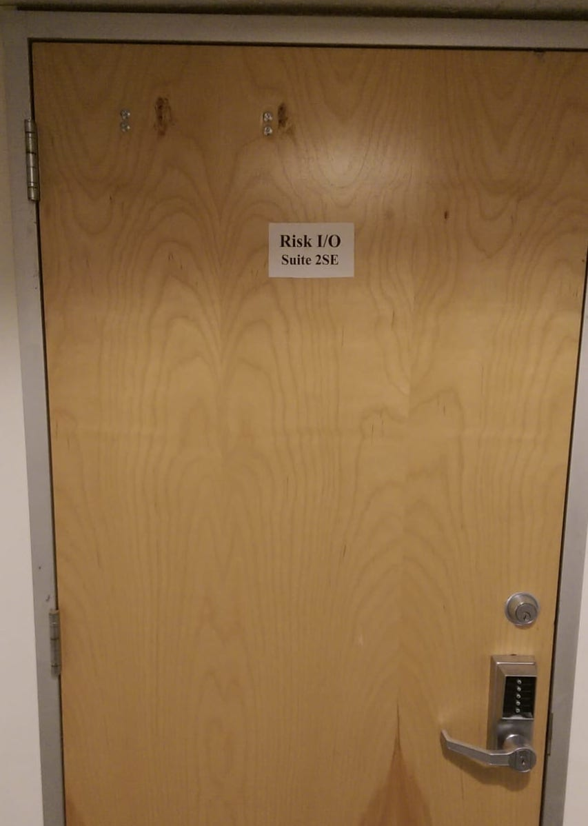 The old Risk.io office door