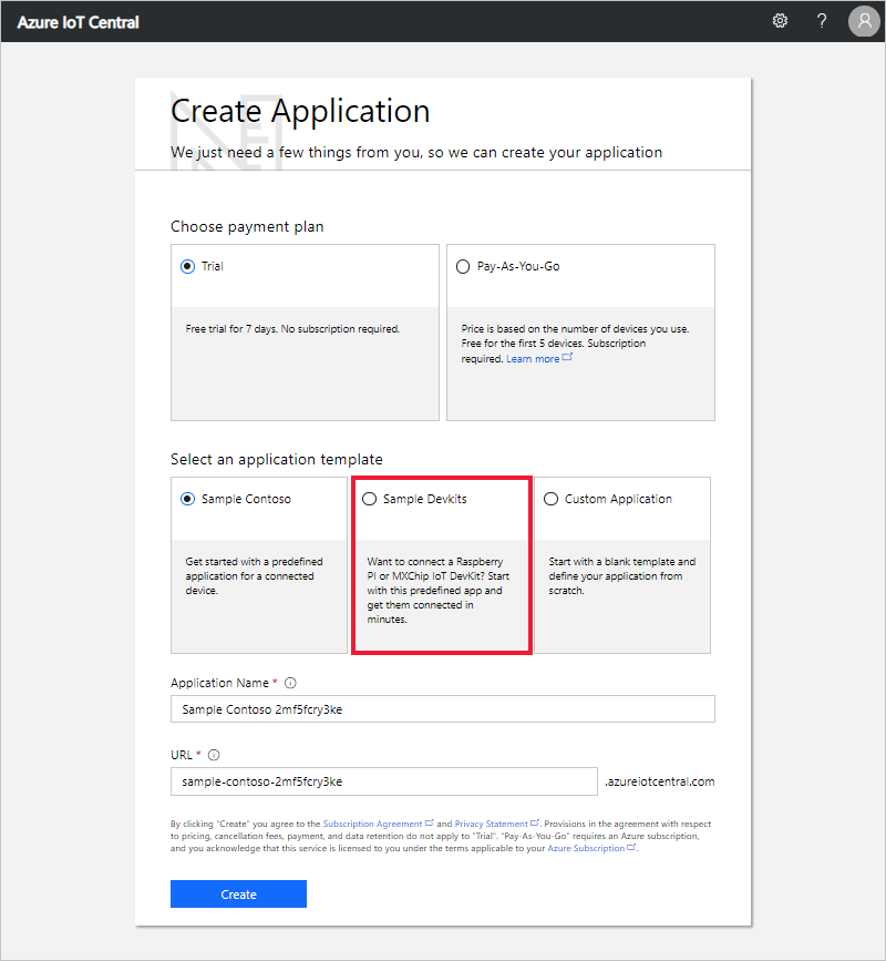 Azure IoT Central Create Application page