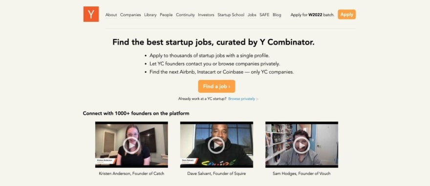 Y Combinator website