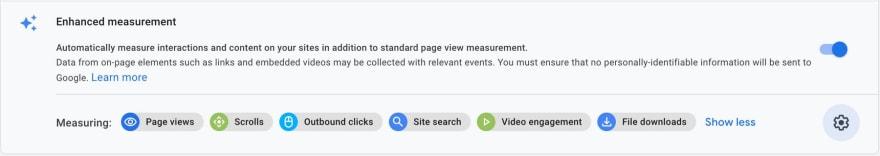GA4 metrics settings
