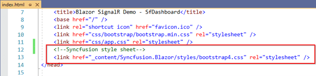 Add the Syncfusion style sheet in the index.html page's head section.