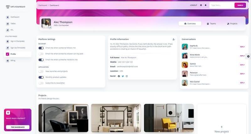 Soft UI Dashboard - Profile Page.
