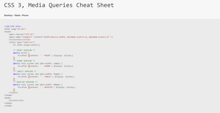 Media Queries Cheat Sheet