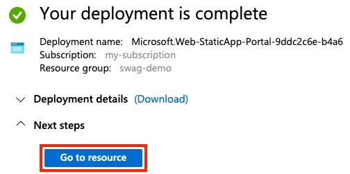 deployment complete screenshot