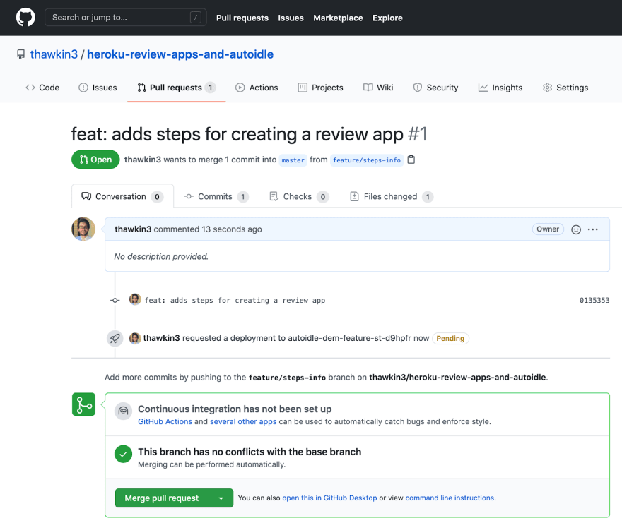 Pending review app deployment as seen in the GitHub pull request