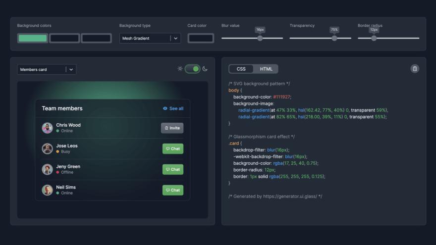 Glassmorphism CSS Generator in dark mode