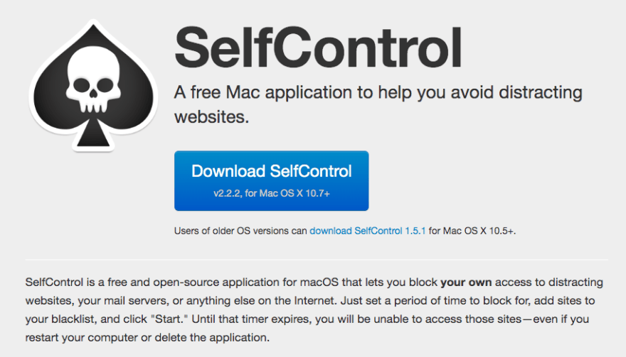 Screenshot of the self control app