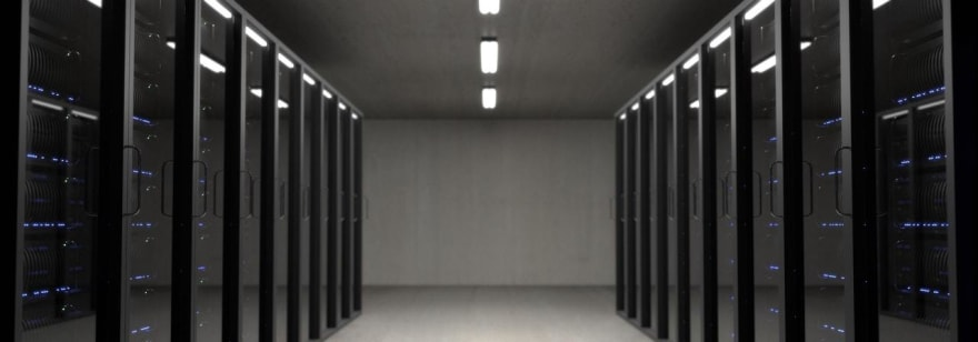 Cover Image. A data center with many servers