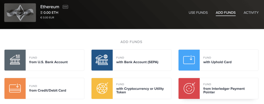 Uphold wallet options
