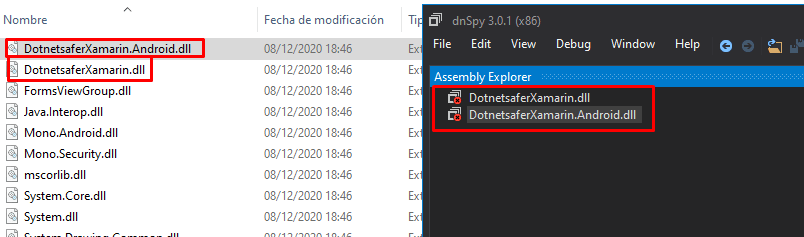 dnspy error decompiling xamarin files