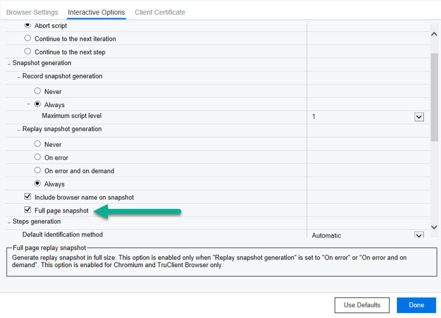 TruClient full page snapshot settings