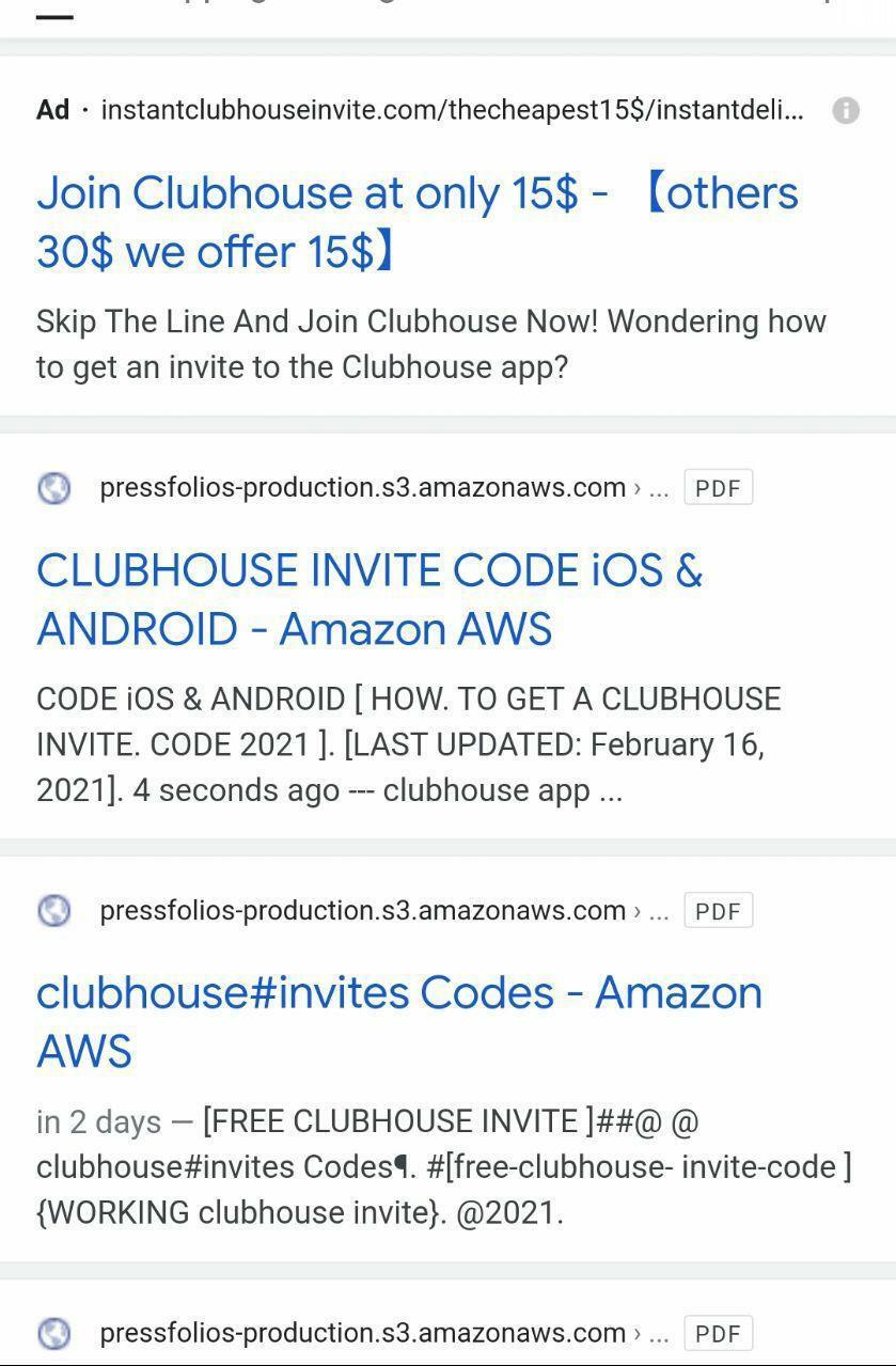 """""""Clubhouse Invite"""" google search result"""