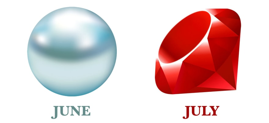 The June birthstone Pearl and the July birthstone Ruby